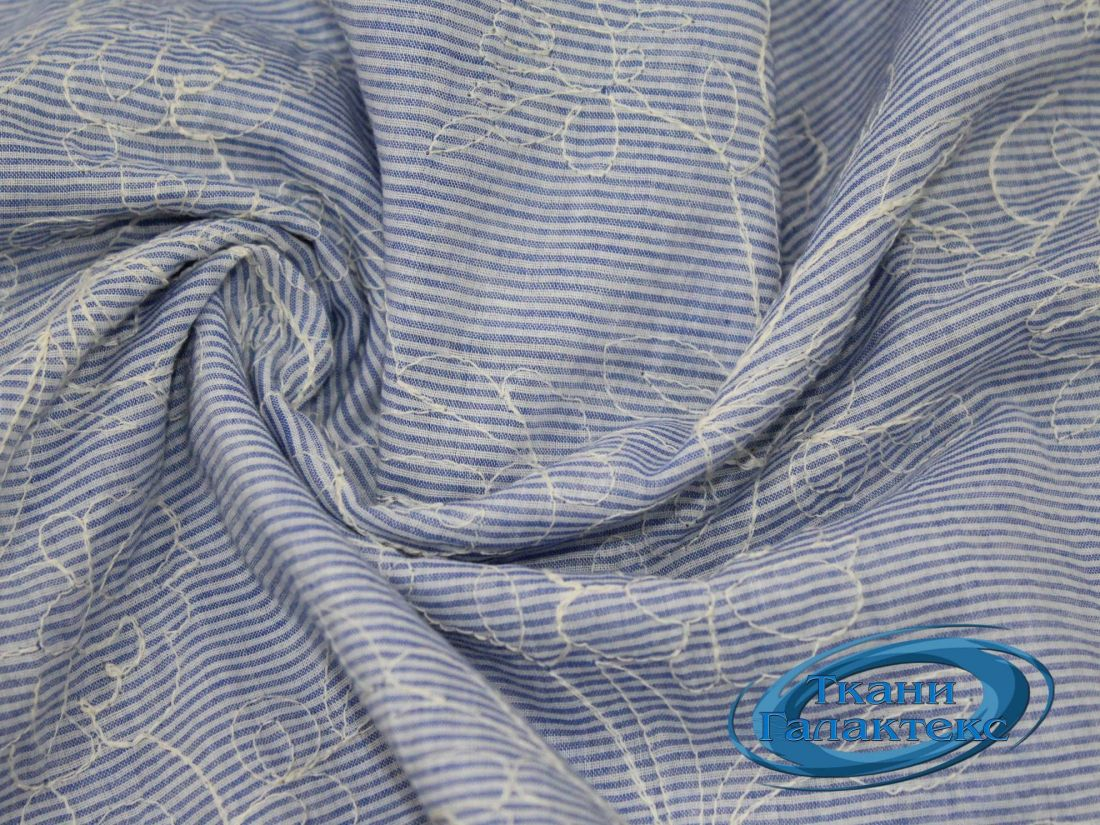 Рубашечная ткань полоска вышивка VT-9830/D1/C#2