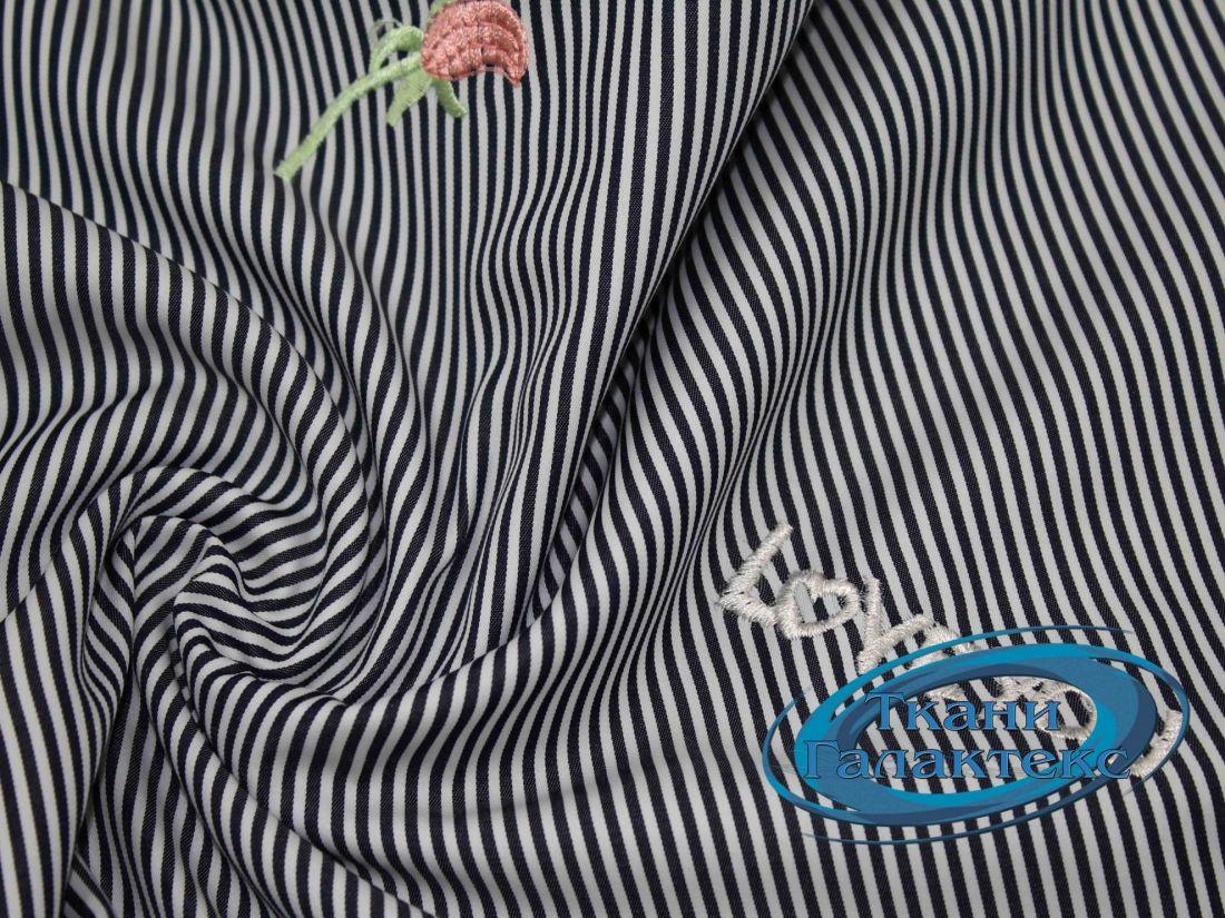 Рубашечная ткань полоска вышивка LI-16650/D1/C#1