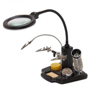 Настольная лампа-лупа ZD-10Y на гибком штативе с паяльными аксессуарами