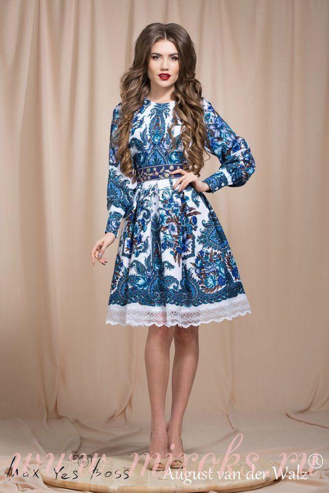 Платье бохо из платка Гжель