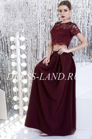 Бордовый костюм (юбка макси +топ)