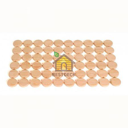 Деревянный коврик Sawo 591 для сауны 860х510 мм 6х10 кружков (сосна, кедр)