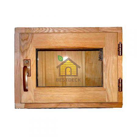Форточка для бани Дуб; стеклопакет; прозрачное стекло
