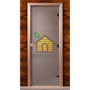 Дверь стеклянная для сауны MW стекло сатин, коробка ольха