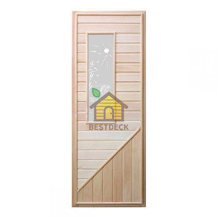 Дверь из липы с прямоугольным стеклом