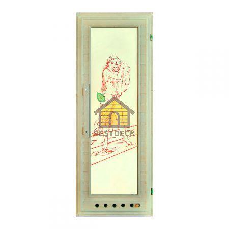Дверь для бани липа+стекло с рисунком, Элит с вентиляционной решеткой