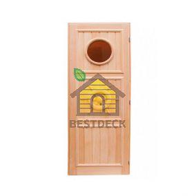 Дверь для бани из липы Штурвал