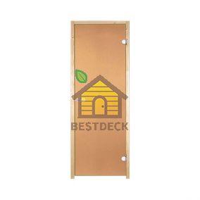 Дверь стеклянная для сауны Harvia STG 7x19 стекло бронза, коробка ольха