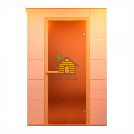 Дверь стеклянная для сауны ALDO, стекло матовое бронза