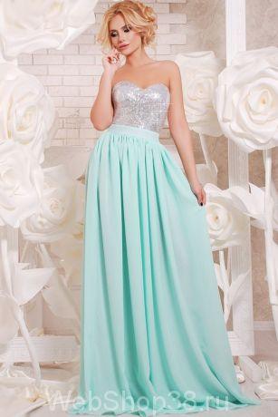 Вечернее ментоловое платье в пол верх с серебристыми пайетками