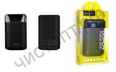Моб. заряд. устрой. HOCO B29 Domon, 10000mAh, пластик, силикон, 2 USB выхода, с дисплеем, 1A, цвет: чёрный Power Bank