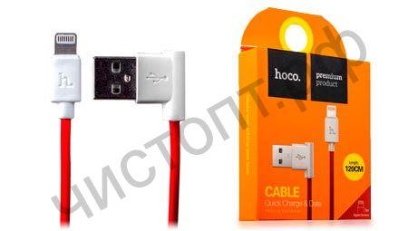 Кабель USB - Apple 8 pin HOCO UPL11, 1.2м, круглый, 2.1A, силикон, боковой, цвет: красный