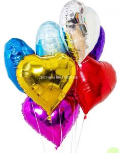 Разноцветные шары Сердца с гелием.