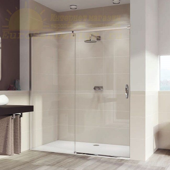 Huppe Aura elegance Односекционная раздвижная душевая дверь с неподвижным сегментом, крепление слева 4014 ФОТО