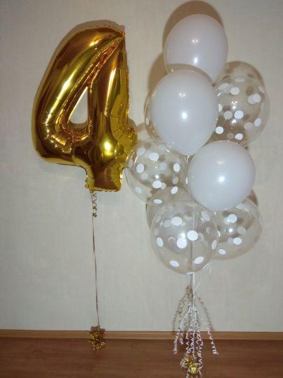 Цифра и фонтан из 10 шаров