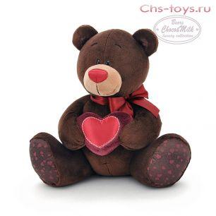 Медведь Choco сидячий с сердцем 20 см, арт. C003/20