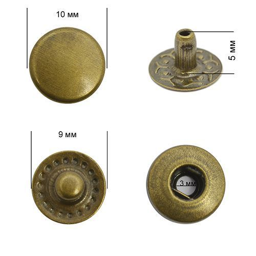 Кнопка VT-2 цвет.антик 10мм сталь NewStar