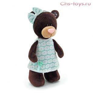 Мишка Choco стоячая в платье цвета мята 30 см, арт. М5044/30