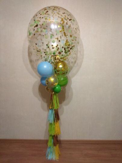 Метровый шар с декором кистями, шарами и конфетти латексный с гелием