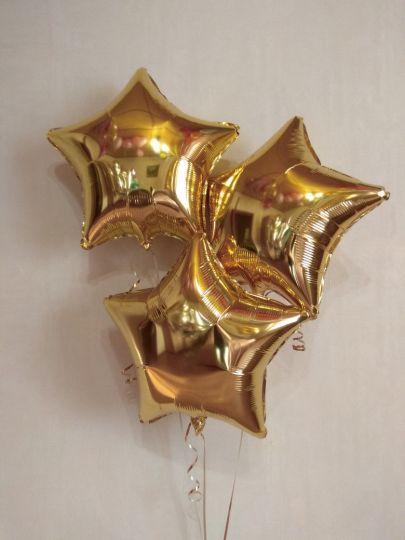 Звезда золотая шар фольгированный с гелием
