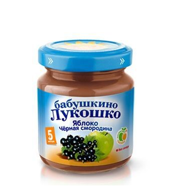Бабушкино лукошко Пюре яблоко с чёрной смородиной с 5 мес. 100 г