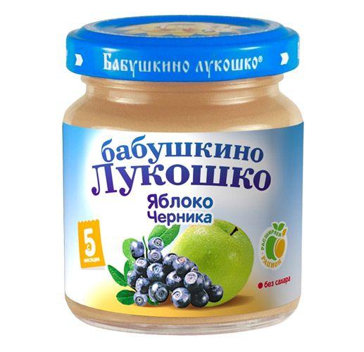 Бабушкино лукошко Пюре Яблоко, черника с 5 мес., 100 г
