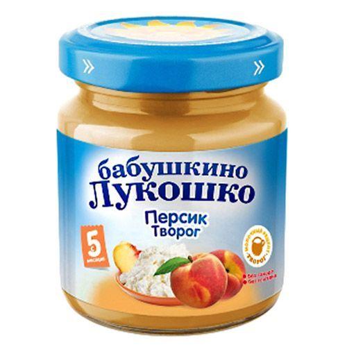 Бабушкино лукошко Пюре Персик с творогом с 5 мес., 100 г