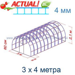 Теплица Богатырь Люкс 3 х 4 с поликарбонатом 4 мм Актуаль BIO