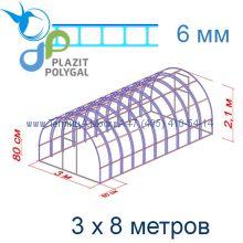 Теплица Богатырь Люкс 3 х 8 с поликарбонатом 6 мм Polygal