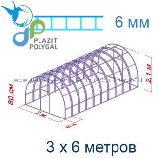 Теплица Богатырь Премиум 3 х 6 с поликарбонатом 6 мм Polygal