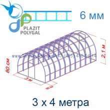 Теплица Богатырь Премиум 3 х 4 с поликарбонатом 6 мм Polygal