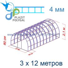 Теплица Богатырь Премиум 3 х 12 с поликарбонатом 4 мм Polygal