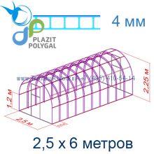 Теплица Богатырь Премиум 2,5 х 6 с поликарбонатом 4 мм Polygal