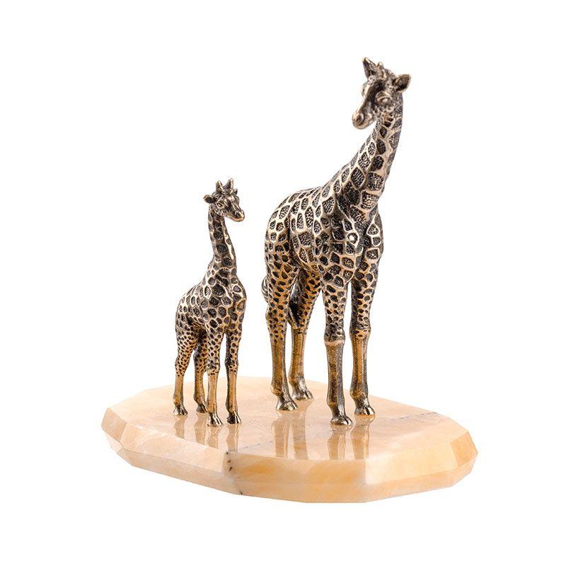 """Статуэтка """"Жираф большой и маленький"""" на камне"""