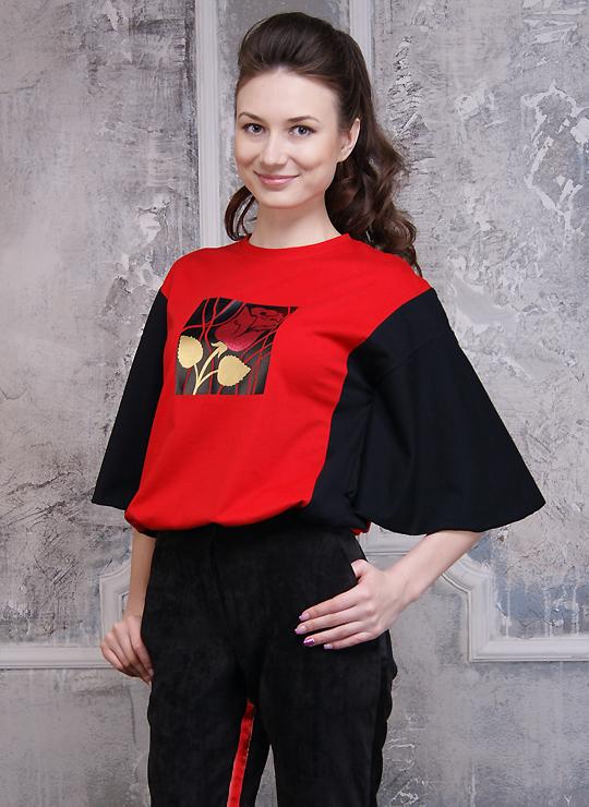 Летняя футболка блузка Роза