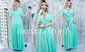 Мятное платье в пол с короткими рукавами