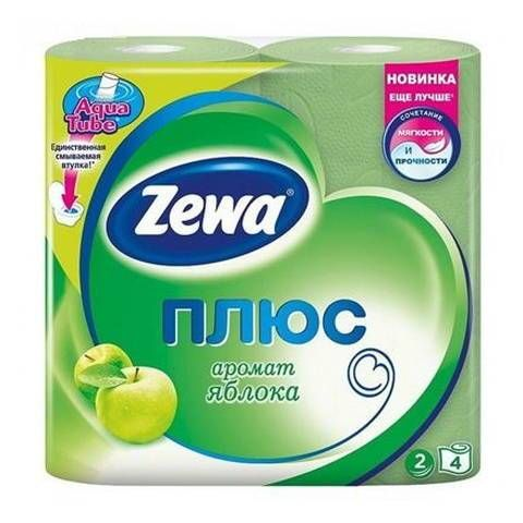 Туалетная бумага Зева Плюс 2х слойная 4шт с аром/зел.яблоко