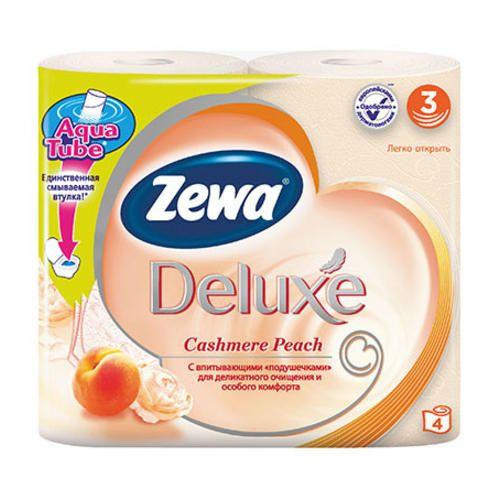 Туалетная бумага Зева Deluxe 3х сл. 4шт Персик