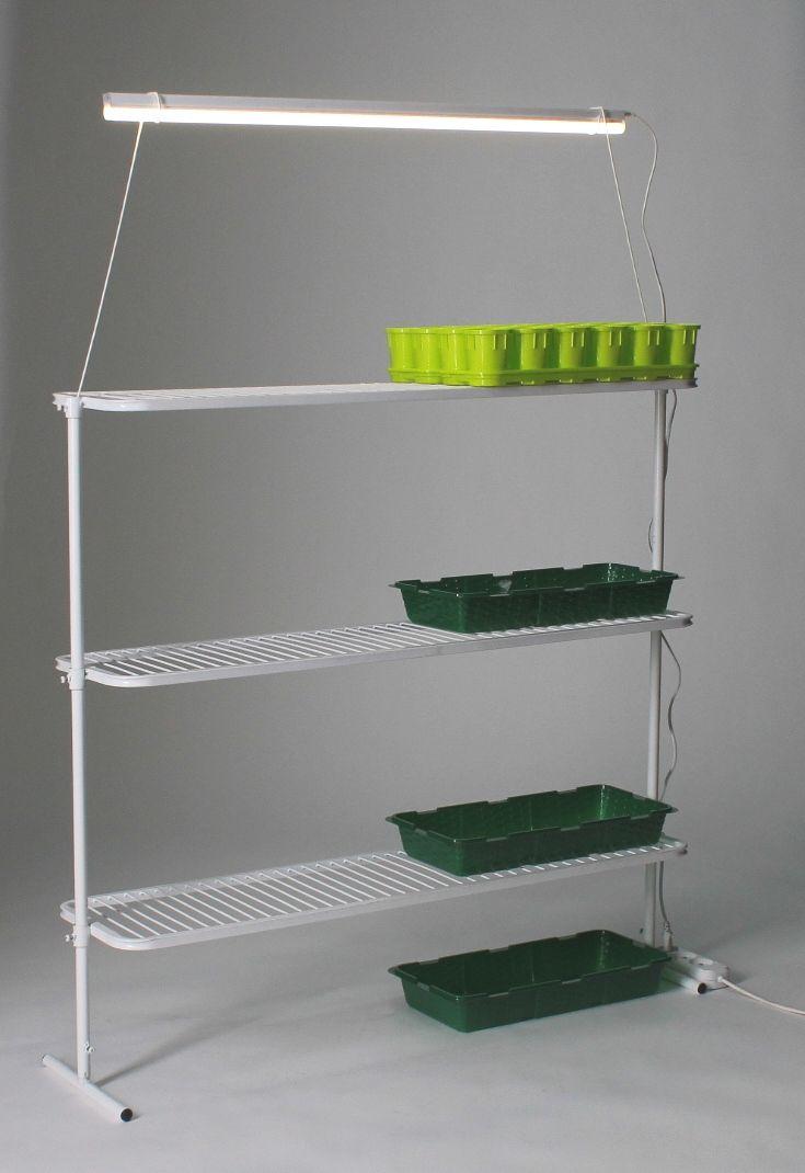 Стеллаж для рассады с 3 полками и держателем для лампы (NEW) в коробке
