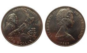 РАСПРОДАЖА!!! Новая Зеландия 1 доллар 1969 г. (200-летие экспедиции Джеймса Кука)