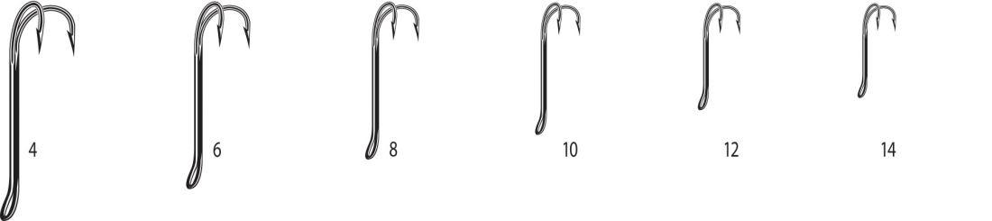 Двойники Cannelle 2008 W № 10 уп.1000 шт. (черный,кованный,длинное цевье,спаянный,для нахлыста)
