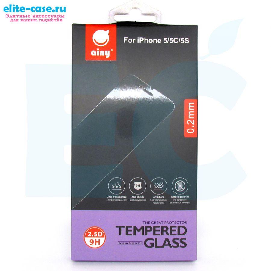 Защитное стекло Ainy GLASS для Apple iPhone 5/5S/SE 0.2mm