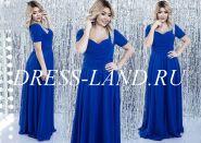 Синее вечернее платье с драпировкой на лифе