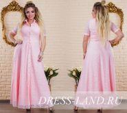 Розовое гипюровое  вечернее платье в пол (до 58р-ра)