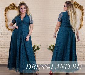 Зеленое гипюровое  вечернее платье в пол (до 58р-ра)