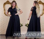 Черное гипюровое  вечернее платье в пол (до 58р-ра)
