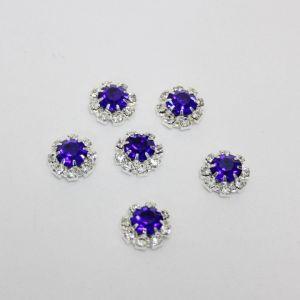 `Кабошон со стразами, круглый, цвет основы: серебро, цвет стразы: синий, размер: 12мм
