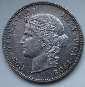 5 франков ШВЕЙЦАРИЯ 1908