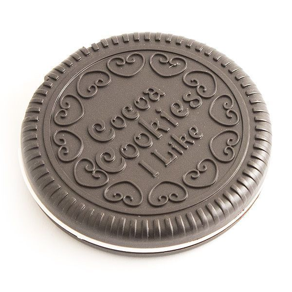Зеркало круглое с гребешком темный шоколад D-7см