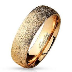 Позолоченное розовым золотом кольцо Spikes с золотой крошкой (арт. 280147)
